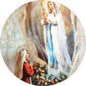 Immagine di 'Medaglia Madonna di Lourdes tonda in argento 925 e porcellana - 1,8 cm'