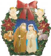 """Addobbo per albero di Natale con dettagli in oro a caldo """"Natività"""" - dimensioni 10x10 cm"""