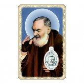 """Card """"Padre Pio"""" con preghiera e medaglia - (10 pezzi)"""