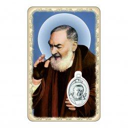 """Copertina di 'Card """"Padre Pio"""" con preghiera e medaglia - (10 pezzi)'"""