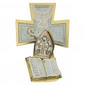 """Croce sagomata con lamina oro """"Santa Cresima"""" - altezza 14 cm"""