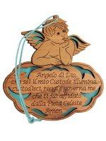 """Angioletto in legno d'ulivo """"Angelo di Dio"""" su sfondo azzurro - dimensioni 8x8 cm"""