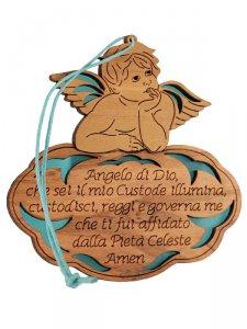 """Copertina di 'Angioletto in legno d'ulivo """"Angelo di Dio"""" su sfondo azzurro - dimensioni 8x8 cm'"""