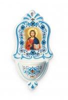 Acquasantiera in polimero ad effetto ceramica con Cristo Pantocratore - altezza 16 cm