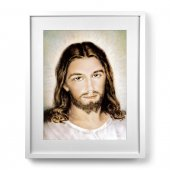 """Quadro """"Volto di Gesù"""" con passe-partout e cornice minimal - dimensioni 53x43 cm"""