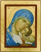 Icona Volto della Madonna della Tenerezza, produzione greca su legno - 24 x 19 cm