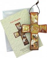 Croce stampa Passione di Padre Rupnik su legno cm 9x13,5 con scatola e spiegazione