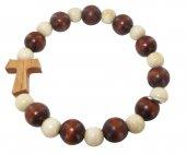 Braccialetto elastico in legno bicolore con tau