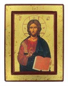 Copertina di 'Icona Cristo Pantocratore con libro aperto, produzione greca su legno - 25 x 19 cm'