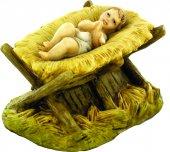 Gesù Bambino con culla  per presepe cm 10 - Linea Martino Landi