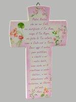 Croce Padre Nostro effetto pietra - Sfondo rosa