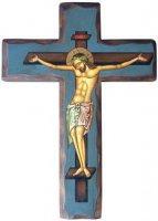 Crocifisso dipinto su croce in legno e sfondo blu - altezza 25 cm