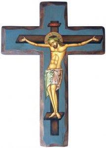 Copertina di 'Crocifisso dipinto su croce in legno e sfondo blu - altezza 25 cm'