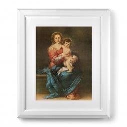 """Copertina di 'Quadro """"Madonna col Bambino"""" di Murillo con passe-partout e cornice decorata a sbalzo'"""