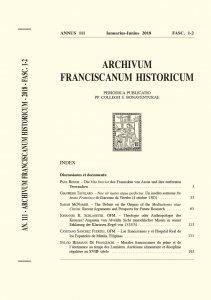 Archivum Franciscanum Historicum n. 2018/1-2