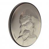 Quadretto legno lastra argento madonna tenerezza