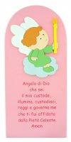 Quadro Angelo di Dio in legno colorato rosa - 28 x 12 cm
