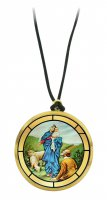 Ciondolo Madonna della Guardia (Genova) in legno ulivo con immagine serigrafata - 3,5 cm