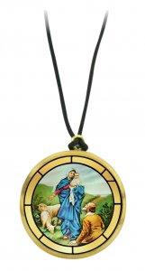 Copertina di 'Ciondolo Madonna della Guardia (Genova) in legno ulivo con immagine serigrafata - 3,5 cm'