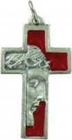 Croce volto Cristo in metallo nichelato e smalto rosso - 3,5 cm