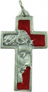 Copertina di 'Croce volto Cristo in metallo nichelato e smalto rosso - 3,5 cm'