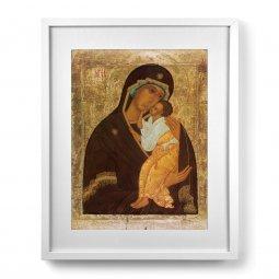 """Copertina di 'Quadro """"Madre di Dio di Jaroslavl"""" con passe-partout e cornice minimal - dimensioni 53x43 cm'"""