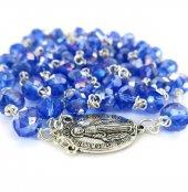 Immagine di 'Rosario con grani in cristallo sfaccettato da Ø 6 mm e legatura in metallo - colore blu'