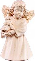 Statuina dell'angioletto con alberello di Natale, linea da 10 cm, in legno naturale, collezione Angeli Sissi - Demetz Deur