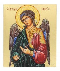 Copertina di 'Icona Arcangelo Gabriele dipinta a mano su legno con fondo orocm 16x19'