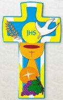 Croce colorata Prima Comunione con colomba