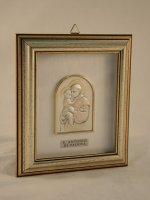 """Quadretto di legno con placca in argento """"Sant'Antonio"""" - dimensioni 14,6x12,6 cm"""