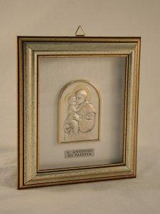 """Copertina di 'Quadretto di legno con placca in argento """"Sant'Antonio"""" - dimensioni 14,6x12,6 cm'"""