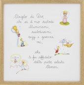 Quadro con Angelo di Dio illustrato e colorato cm 29x29 - cornice in legno Neutro