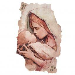 """Copertina di 'Quadro in resina con bordo irregolare """"Madonna col Bambino"""" - dimensioni 43x28 cm'"""