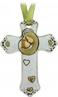 Croce in resina bianca Madonna Bambino cm 8,5