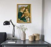 """Immagine di 'Quadro """"Madonna col Bambino e angeli"""" con lamina oro e cornice dorata - dimensioni 44x34 cm'"""
