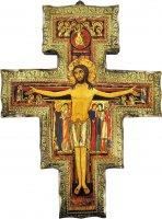Crocifisso di San Damiano su legno da parete - 16 x 12 cm