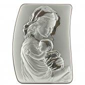 """Quadretto in legno ed argento """"Madonna col bambino"""" - dimensioni 21x15 cm"""