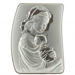 """Copertina di 'Quadretto in legno e argento """"Madonna col bambino"""" - dimensioni 21x15 cm'"""