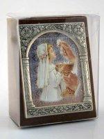 """Immagine di 'Icona in lamina d'argento """"Prima Comunione"""" per bambina - dimensioni 6,5x5,2 cm'"""