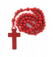Rosario economico in legno tondo rosso diametro mm 7 legatura in seta
