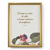 """Quadro con citazione """"Il corpo si nutre"""" su cornice dorata - dimensioni 44x34 cm - S. Agostino"""