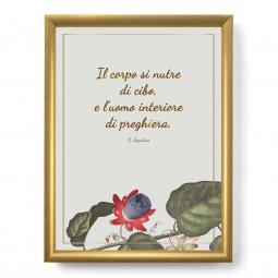 """Copertina di 'Quadro con citazione """"Il corpo si nutre"""" su cornice dorata - dimensioni 44x34 cm'"""