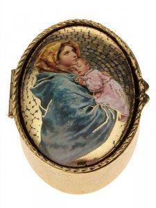 """Copertina di 'Portarosario ovale in metallo """"Madonnina del Ferruzzi"""" - dimensioni 6x4 cm'"""