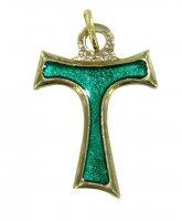 Croce tau metallo dorato con smalto verde cm 2