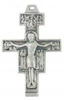 Croce San Damiano in metallo argentato - 6 cm