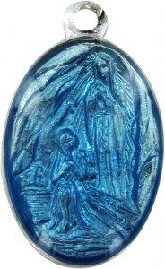 Copertina di 'Medaglia Madonna Lourdes in alluminio con smalto azzurro - 1,8 cm'