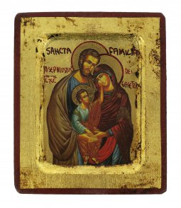 Copertina di 'Icona Sacra Famiglia, produzione greca su legno - 8 x 6,5 cm'