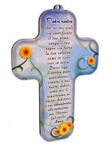 "Copertina di 'Croce in legno ""Padre nostro"" azzurra  -  altezza 13 cm'"