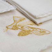 Servizio da messa 4 pezzi con ricamo dorato dei simboli eucaristici